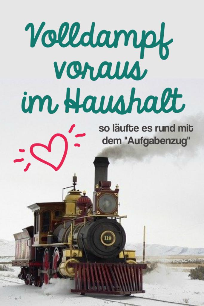 Aufgabenzug  Volldampf voraus im Haushalt mit dem Aufgabenzug- Dagmar Brewig.de Bild einer fahrenden Dampflokomotive.